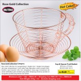 Rose Gold Cup & Saucer Fruit  Basket