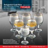 Delightful Gold Rim 6pcs Stemware  13.75oz