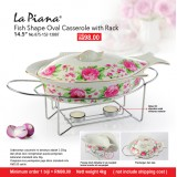 Fish Shape 14.5'' Oval Casserole With Rack