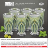 Blue Egypt Star 6pcs Footed Tumbler Set