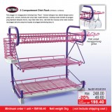 3 Compartment Dish Rack (Purple Tube & Pink Layer)