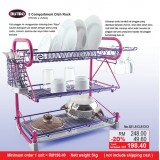 3 Compartment Dish Rack (Pink Tube & Purple Layer)