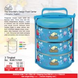 Strawberry Food Carrier 3 Tingkat  Blue