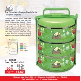 Strawberry Food Carrier 3 Tingkat  Green