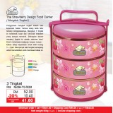 Strawberry Food Carrier 3 Tingkat  Pink