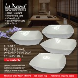 Snow White 2 Europe Square Bowl  With Round Bottom 8'' (4 biji hanya RM 88.40)